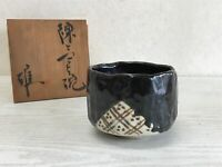 Y1820 CHAWAN Oribe-ware signed box Japanese bowl pottery Japan tea ceremony