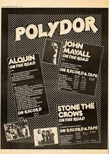 Alquin Stone Crows John Mayall 1973 UK tour/advert MM-SDWQ