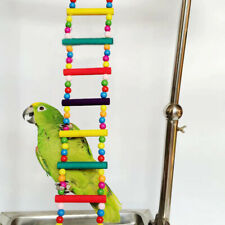 New listing Birds Pets Hanging Colorful Balls Climbing Toy Parrots Ladders With Natural Wood