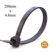 100 x noir nylon cable ties 200 x 4.8mm/extra fort zip tie wraps