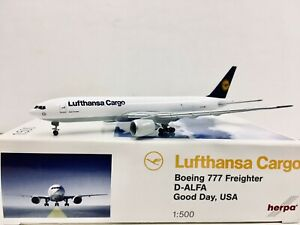 """Herpa Wings Lufthansa Cargo Boeing 777 Freighter """"Good Day, USA"""" 1:500 D-ALFA"""
