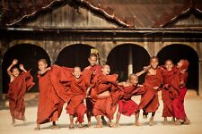 Buddhist Monks at Wai Gyi monastery in Myanmar - Limited Edition Alumini Print