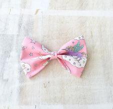 Pastel pink with Unicorn rainbow cloud hair bow clip Kawaii pin up