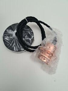 Pendant Light Fitting Retro Style Black Fabric Cord Rose Gold