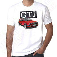 Mk2 Red Golf Gti Mens 100% cotton T-Shirt  - Personalised number plate opt.