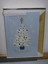 HALLMARK SIGNATURE BLUE CHRISTMAS TREE GLITTTERY 8 CARDS & ENVELOPES NEW A17086