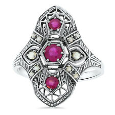 .925 Silver Filigree Ring Sz 8, #23 Genuine Ruby Seed Pearl Antique Deco Style