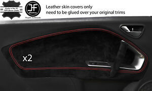 RED STITCH 2X FRONT DOOR CARD TRIM SUEDE COVERS FOR ALFA ROMEO MITO 2008-2017