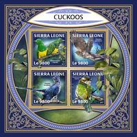 Sierra Leone 2017 MNH Cuckoos Cuckoo 4v M/S Bird Birds Stamps