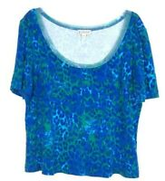 St. John Sport women's Blue Scoop neck Top Short Sleeve Animal Print size XL CAK