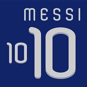 Messi 10. Argentina Away football shirt 2009 - 2011 FLEX NAMESET NAME SET