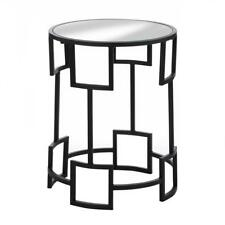 New Modern Round Side Table Glass Furniture Iron Mirror Top Home Decor End Black