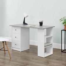 en.casa Schreibtisch 120x50x72cm Weiß/grau Bürotisch mit Schubladen PC Tisch