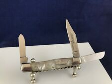 Imperial Schrade IMP14L stockman pocket knife 3 pin celluoid white handle