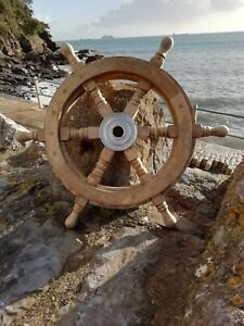 Ships wheel Mango Wood 46 cm across Wooden With Metal Centre maritime Pirate 18