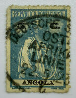 1914 ANGOLA STAMP WITH GERMAN EAST AFRICA LINE CANCEL POSTMARK