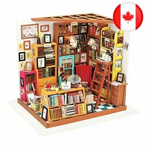 Rolife DIY Miniature Dollhouse Kit,Library with Furniture and LED,Wooden Dollhou