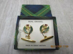 Antique Vintage Rolled Gold Enamel Thistle Scotland Cufflinks Original Box