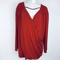 Bold Elements Red Stretch Women Blouse. Size 2X. New With Tags