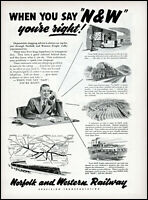 1952 Norfolk & Western Railway freight traffic train vintage art print ad ads71