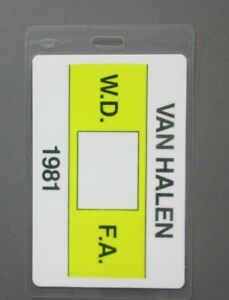 Van Halen backstage pass laminated W.D.F.A. 1981 AUTHENTIC !