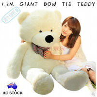 CUTE 1.2M GIANT WHITE TEDDY BEAR BOW TIE CUDDLY SOFT PLUSH TOY DOLL STUFFED GIFT