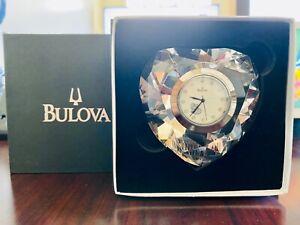 NEW ! / BULOVA : Decorative B6857 Heart Shaped Faceted Crystal Table Clock