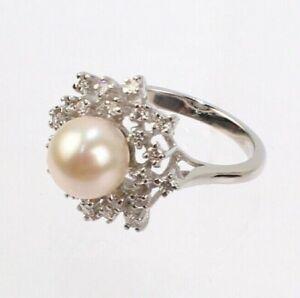 Pearl, Diamond & 14 Karat White Gold Ring - 14k VR