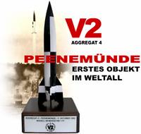 """V2 Raketenmodell """"3. Oktober 1942 ++"""" Massiver Stahl auf Holzsockel (Aggregat 4)"""