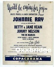 JOHNNIE RAY OKEH Copa Copacabana HANDBILL PHOTO POSTER 1950 Rock Roll Doo Wop