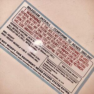Landrover Perentie Massdam Jackall Warning Sticker (Brand New)