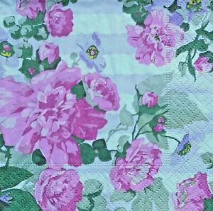 3 paper beverage Decoupage Napkins, Pink & Lavender Flowers, Anna Griffin