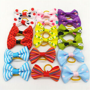 2~20X Color Pet Dog Hair Bows Rubber Bands Cat Grooming Puppy Topknot Rope Gift