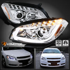08-12 Chevy Malibu LED DRL Crystal Projector Headlights Lamps Left+Right Pair