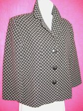 CHICOS Black White Check Jacket Cotton Wool 3/4 Sleeve Nice Details Lined Sz 1 S