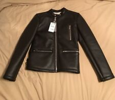 Zara Men's Brown Leather DOUBLE-SIDED BIKER JACKET New With Tags Small 0706/202