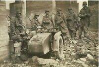 WW II  German   Photo   ----   Soldiers & Motorcycle