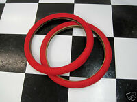 "2 RED 20 x 1.95"" Snake Belly Old School BMX Freestyle Bike MX Bicycle TIRES"