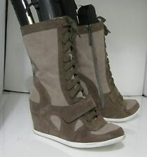 """new Brown 3.5""""high hidden  wedge heel round toe mid-calf boot. lace up size  8.5"""