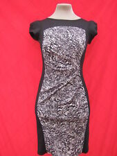 Billie & Blossom Black Leopard Print illusion Hourglass bodycon dress 8 10 pinup