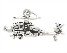 STERLING SILVER THREE DIMENSIONAL APACHE STYLE HELICOPTER CHARM / PENDANT