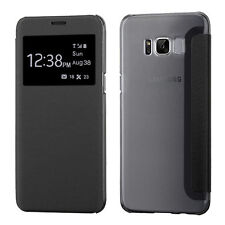 Black Open Top See Through Wallet Slots Cover Phone Case Samsung Galaxy S8 Plus