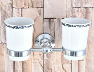 Silver Polished Chrome Brass Bathroom Toothbrush Holder Two Ceramic Cups 2ba796