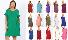 Women's T-Shirt Pocket Knee Dress V-Neck Short Sleeve Loose Casual Solid Basic