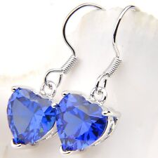 Charming Jewelry Platinum Plated Love Heart Blue Sapphire Gems Dangle Earrings