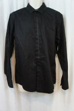 Inc International Concepts Camisa Hombre TALLA M Negro Ribete de Satén Algodón