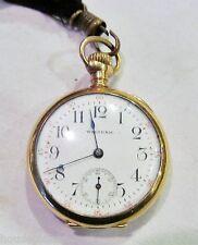 Antique 14K Gold A.W.W.Co American Waltham Open Face 1903 Pendant Pocket Watch