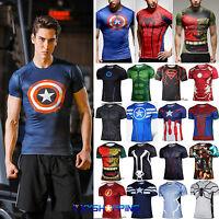 Marvel Shirt Herren Sport T-Shirt Superhelden Fahrrad Casual Jersey Kostüm Slim