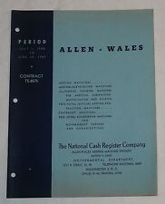 Original NCR National Cash Register Allen Wales Government Contract Book 1948-49