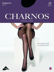 CHARNOS ELEGANCE PANTYHOSE 10 Den Ultra Sheer Soft Sheen TightsPantyhose Nylons